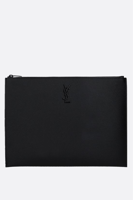 SAINT LAURENT: Monogram pouch in Grain de Poudre leather Color Black_1