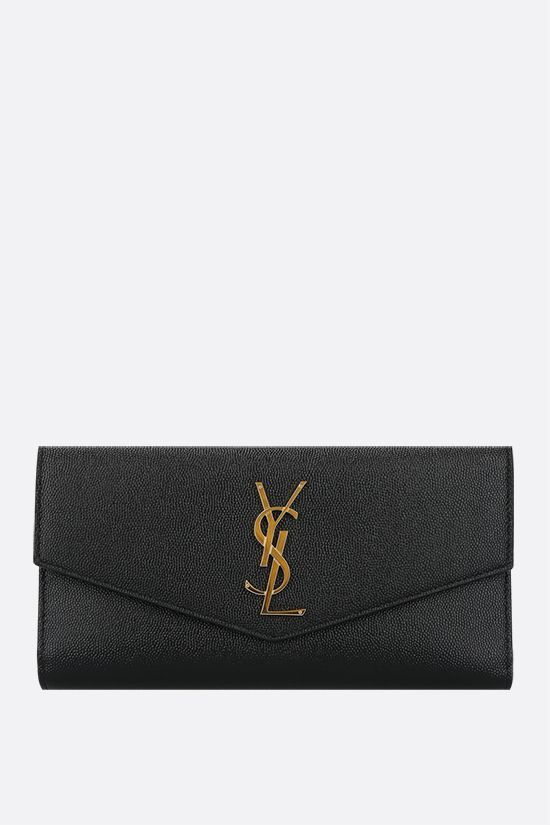 SAINT LAURENT: Uptown large wallet in Grain de Poudre leather Color Black_1