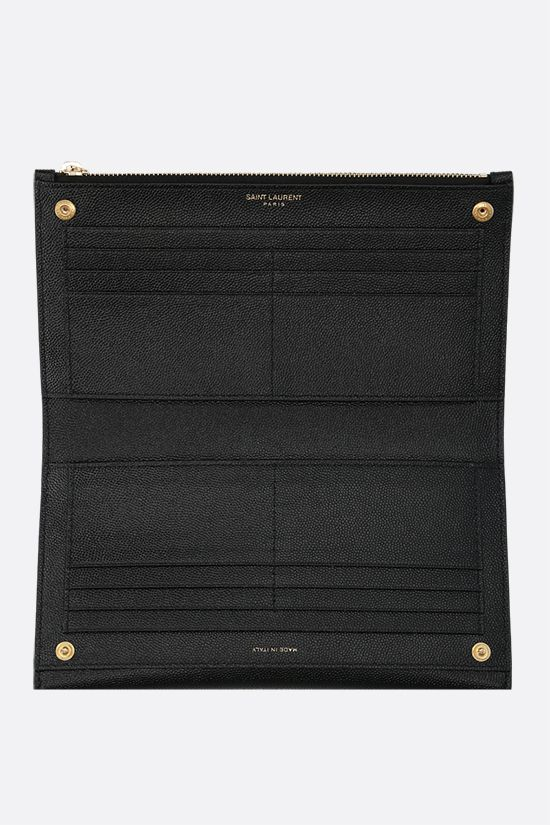 SAINT LAURENT: Uptown large wallet in Grain de Poudre leather Color Black_2