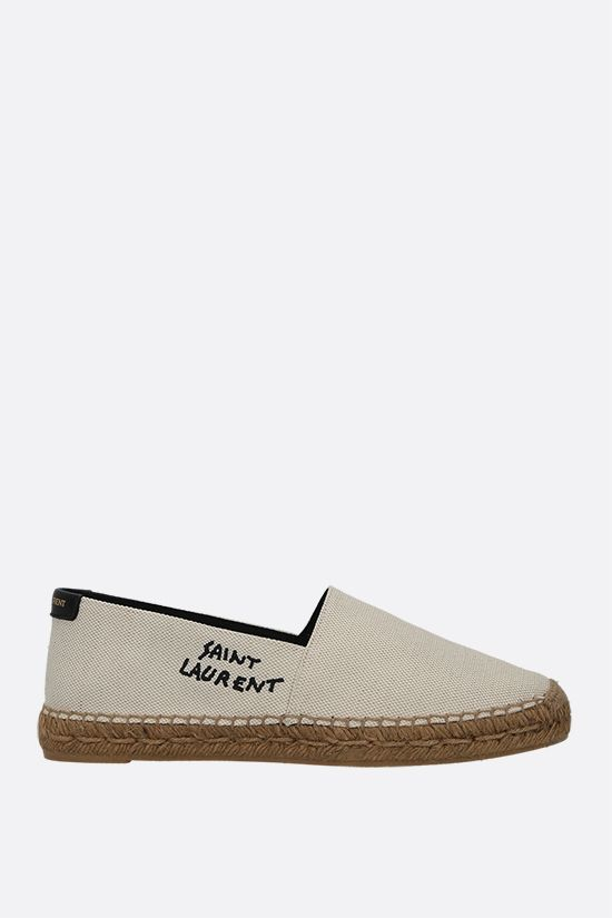 SAINT LAURENT: logo-embroidered canvas espadrilles Color Neutral_1