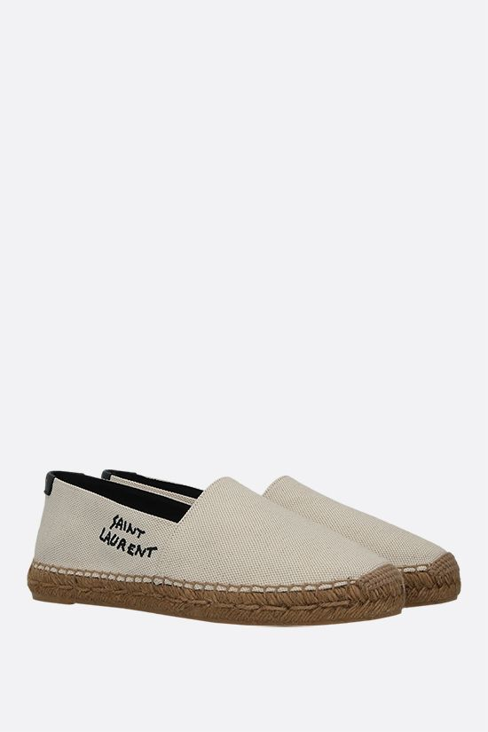 SAINT LAURENT: logo-embroidered canvas espadrilles Color Neutral_2