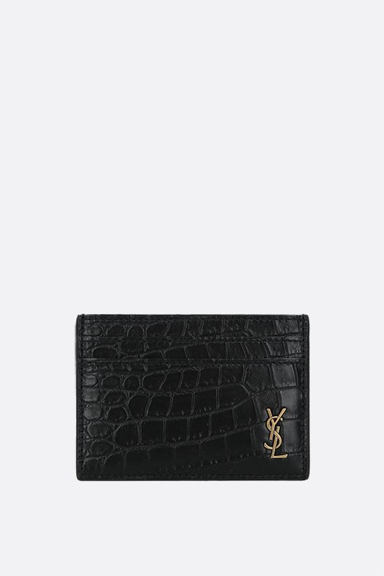 SAINT LAURENT: Monogram crocodile embossed leather card case Color Black_1
