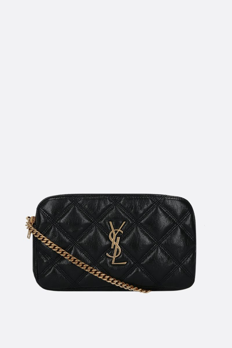 SAINT LAURENT: Becky quilted nappa chain wallet Color Black_1