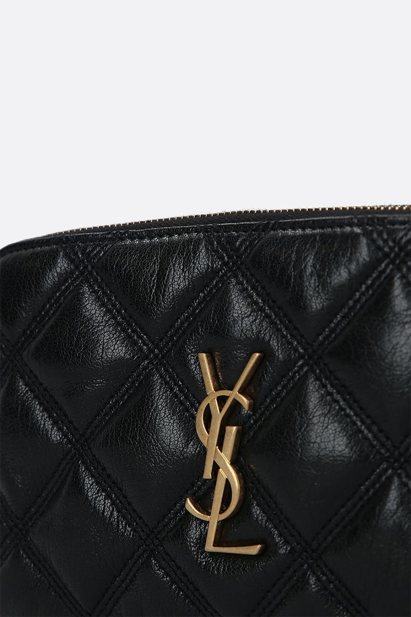 SAINT LAURENT: Becky quilted nappa chain wallet Color Black_4