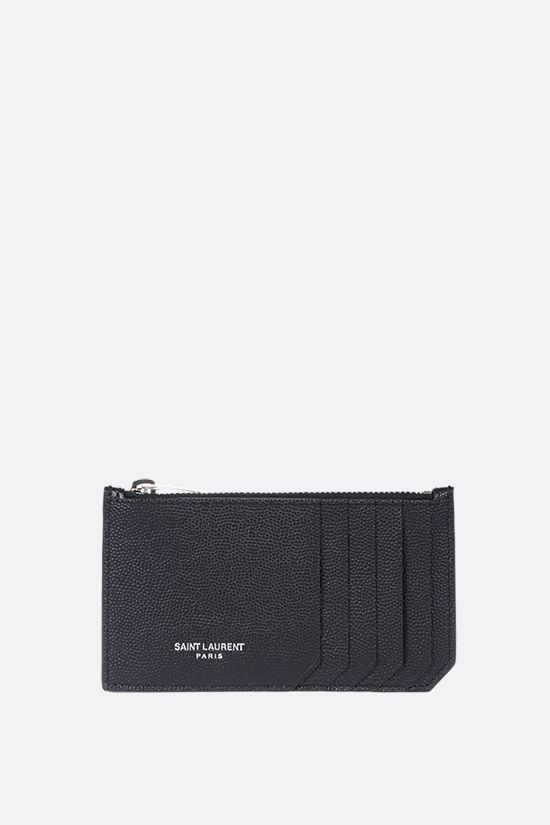 SAINT LAURENT: porta carte con zip in pelle Grain de Poudre Colore Nero_1