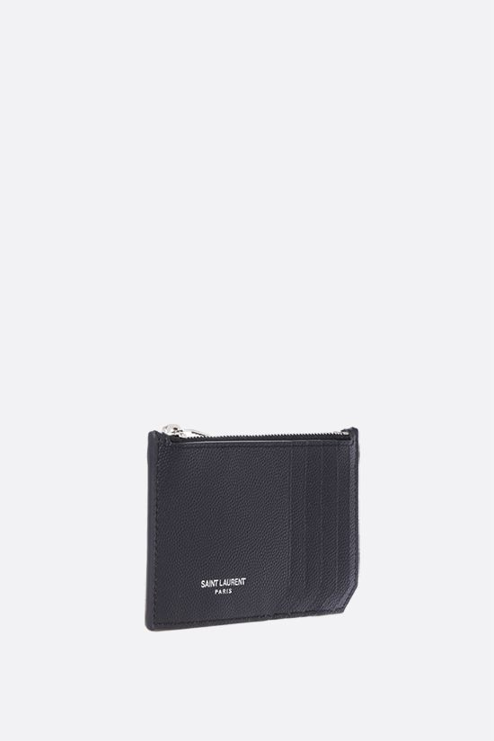 SAINT LAURENT: porta carte con zip in pelle Grain de Poudre Colore Nero_2