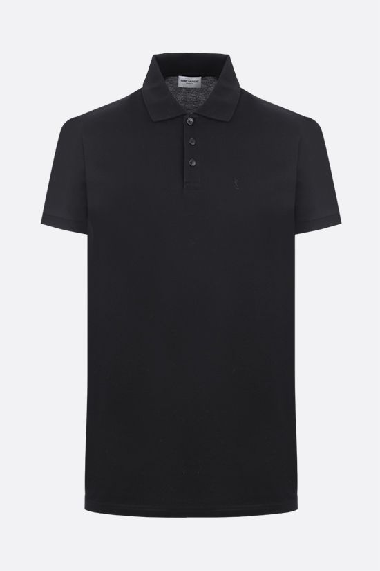 SAINT LAURENT: Monogram cotton polo shirt Color Black_1