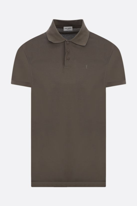 SAINT LAURENT: Monogram cotton polo shirt Color Green_1