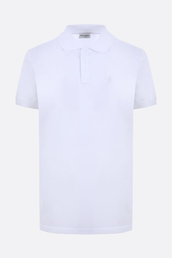 SAINT LAURENT: Monogram cotton polo shirt Color White_1