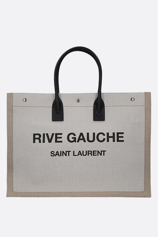 SAINT LAURENT: Rive Gauche canvas tote bag Color White_1