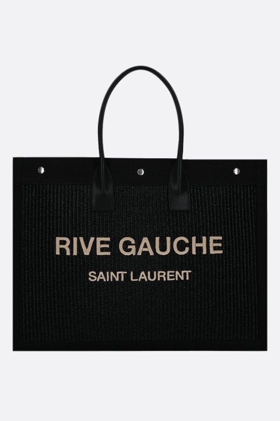 SAINT LAURENT: Noe raffia and canvas tote bag Color Black_1