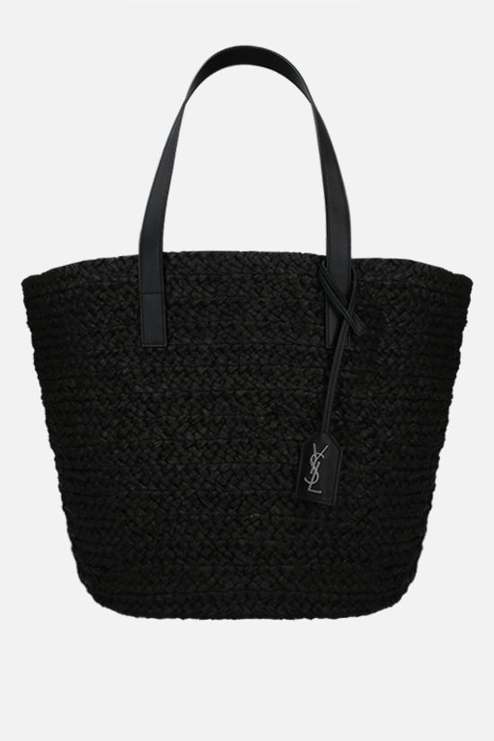 SAINT LAURENT: Panier medium raffia bucket bag Color Black_1