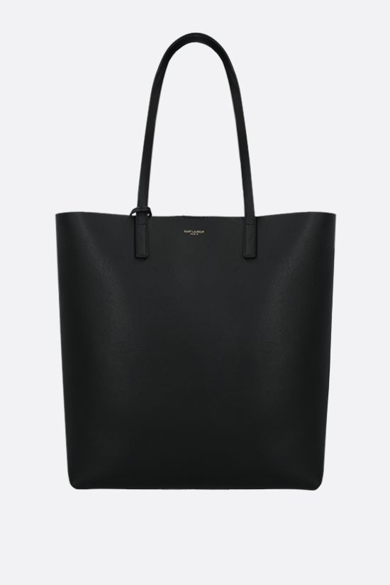 SAINT LAURENT: North South smooth leather tote Color Black_1