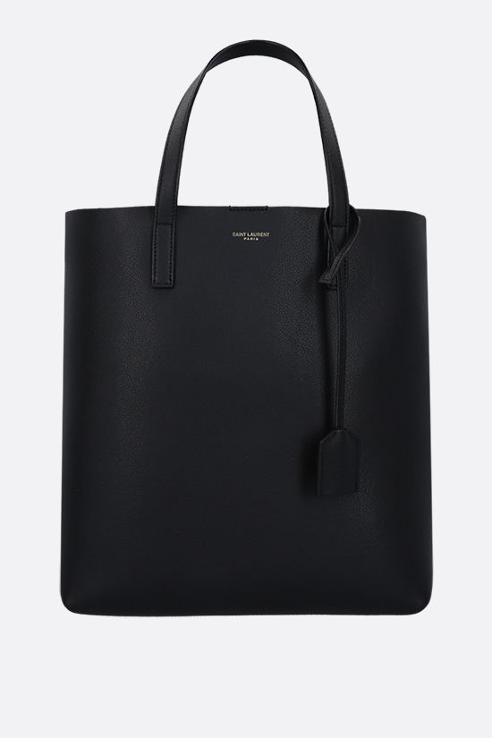 SAINT LAURENT: North South small textured leather tote bag Color Black_1