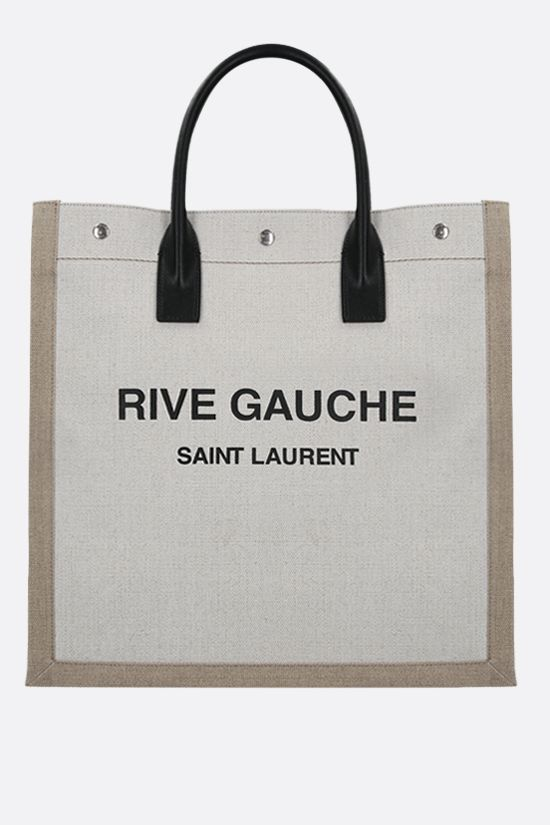 SAINT LAURENT: Rive Gauche N/S canvas tote bag Color White_1