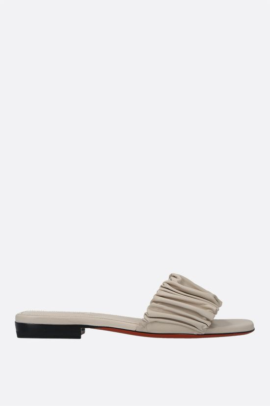 SANTONI: soft nappa slide sandals Color Neutral_1