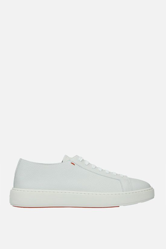 SANTONI: grainy leather low-top sneakers Color White_1