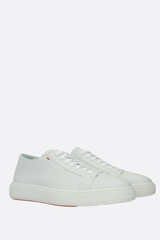 SANTONI: grainy leather low-top sneakers Color White_2