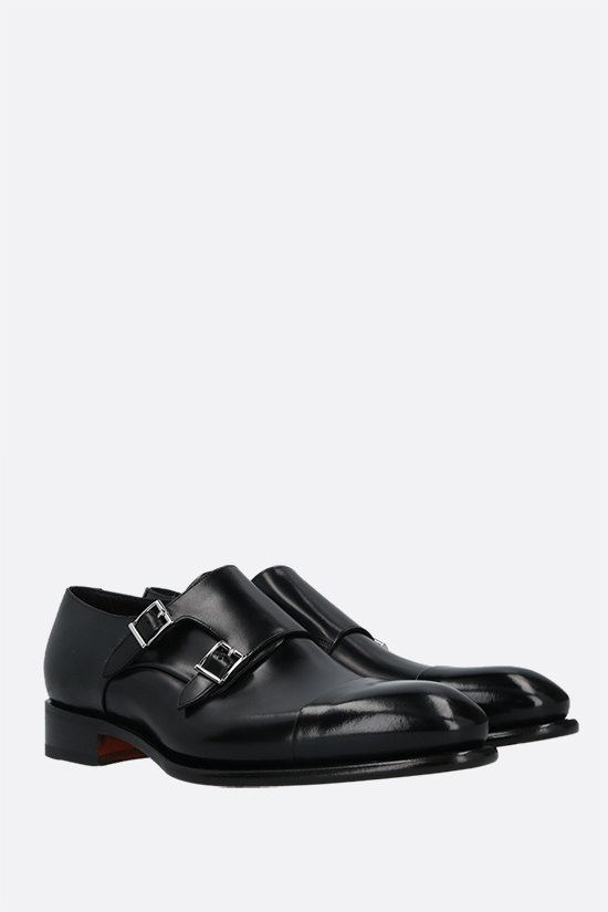 SANTONI: shiny leather monk-strap shoes Color Black_2