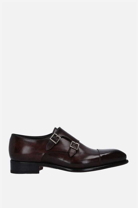 SANTONI: smooth leather monk strap shoes Color Brown_1