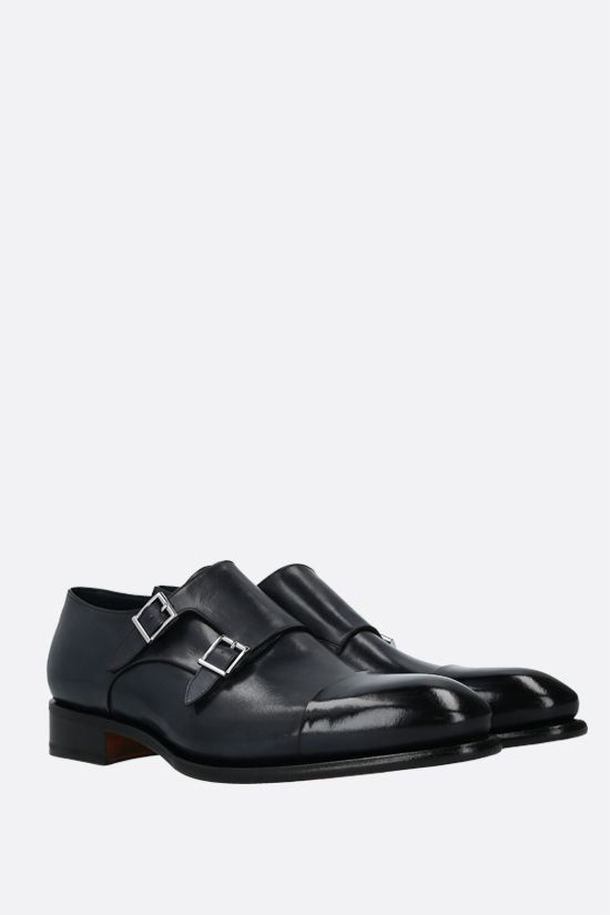 SANTONI: smooth leather monk strap shoes Color Blue_2