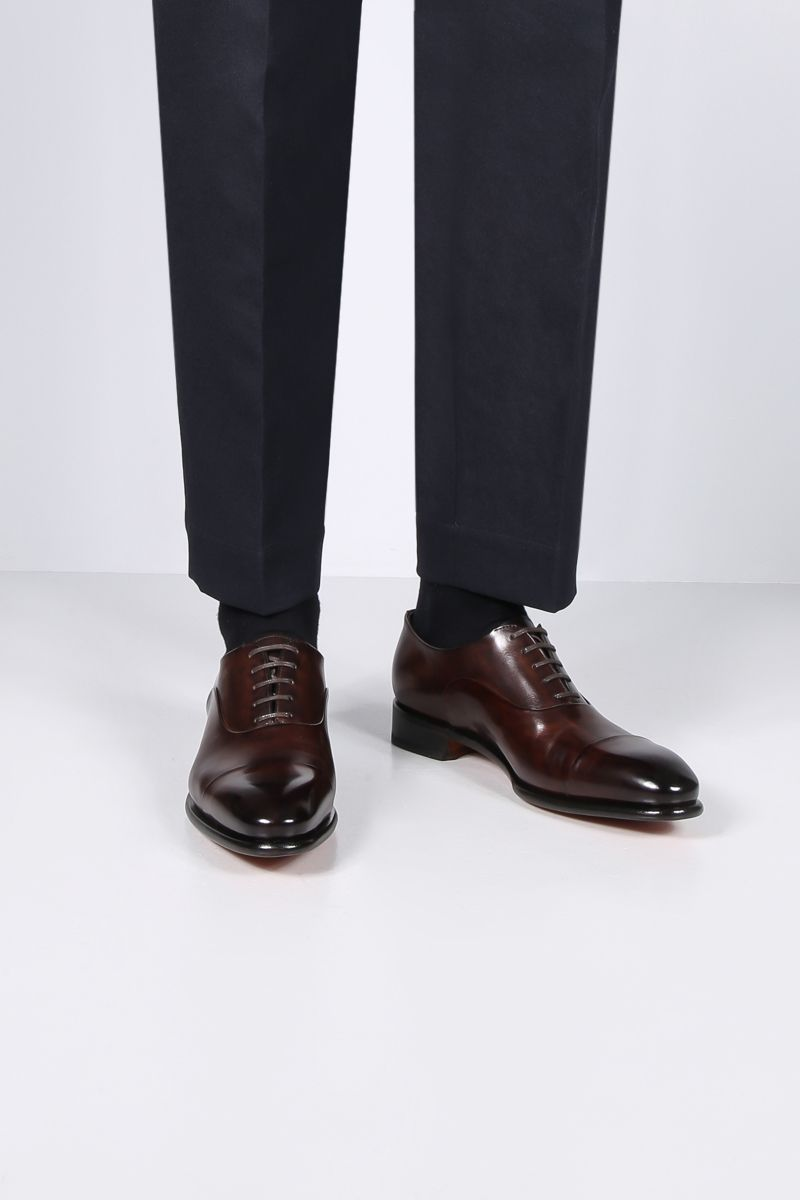 SANTONI: shiny leather oxford shoes Color Brown_2