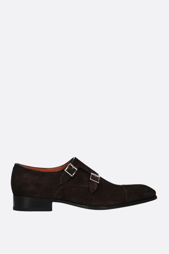 SANTONI: Carter suede monk strap shoes Color Brown_1