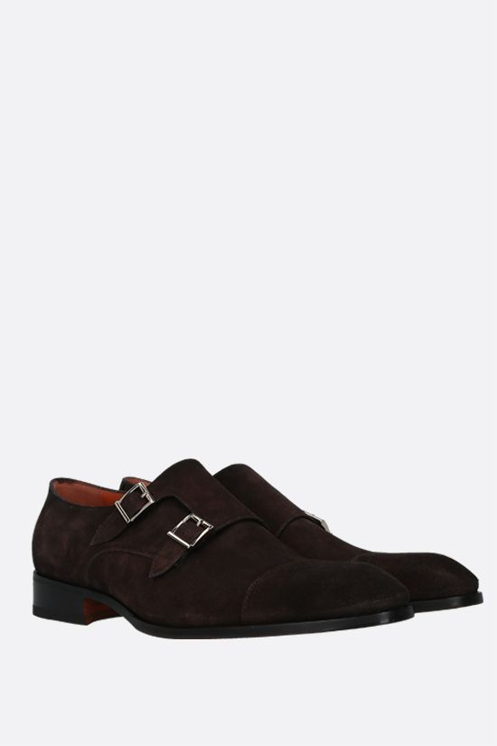 SANTONI: Carter suede monk strap shoes Color Brown_2