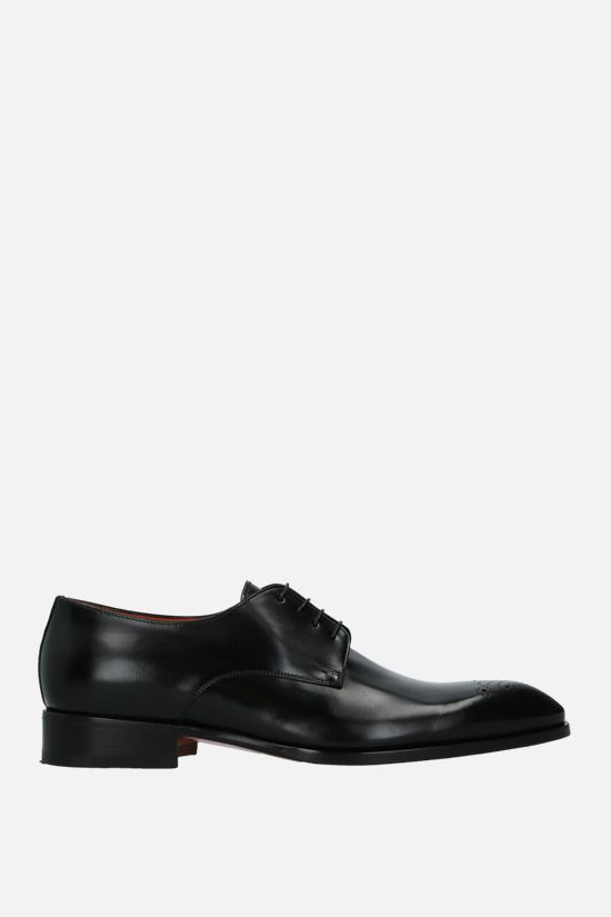 SANTONI: shiny leather derby shoes Color Black_1