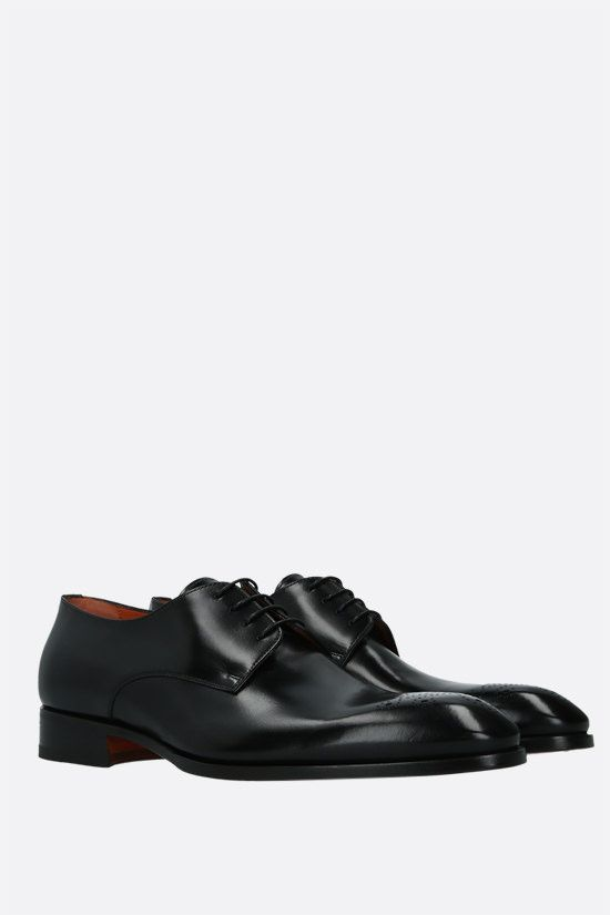 SANTONI: shiny leather derby shoes Color Black_2