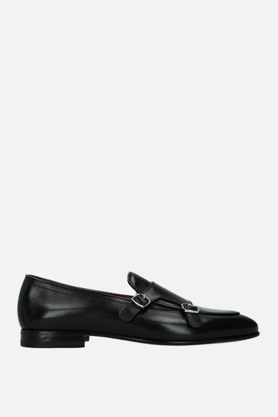 SANTONI: shiny leather monk strap shoes Color Black_1