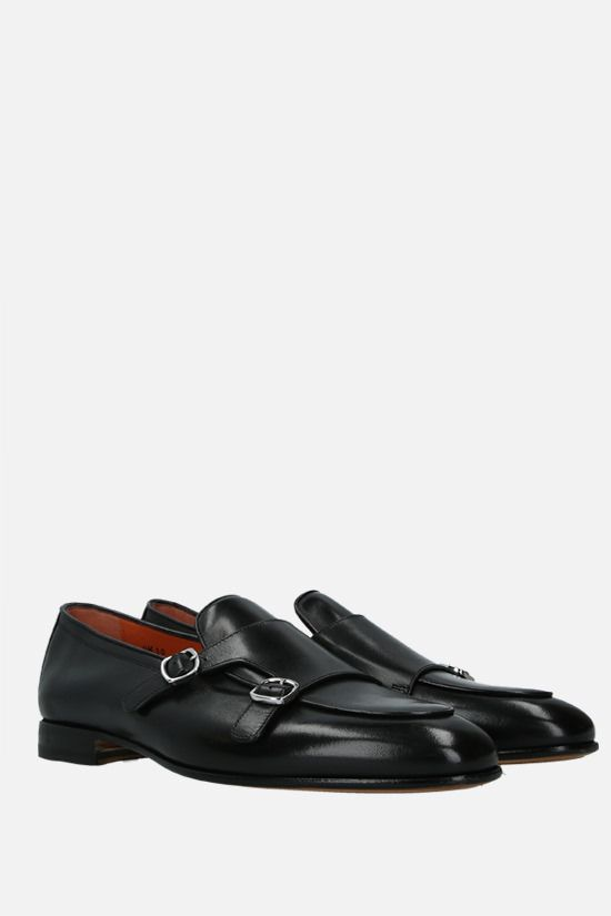 SANTONI: shiny leather monk strap shoes Color Black_2