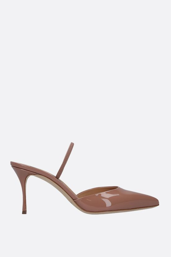 SERGIO ROSSI: Godiva patent leather mules Color Neutral_1