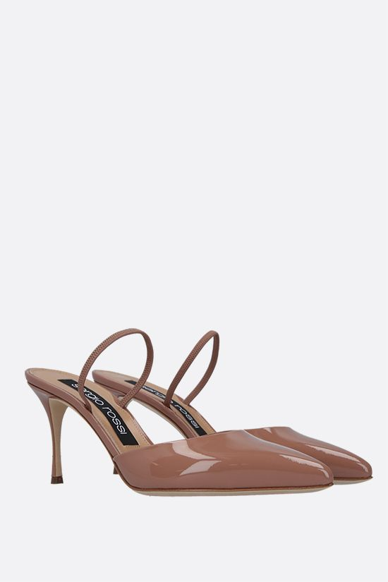 SERGIO ROSSI: Godiva patent leather mules Color Neutral_2
