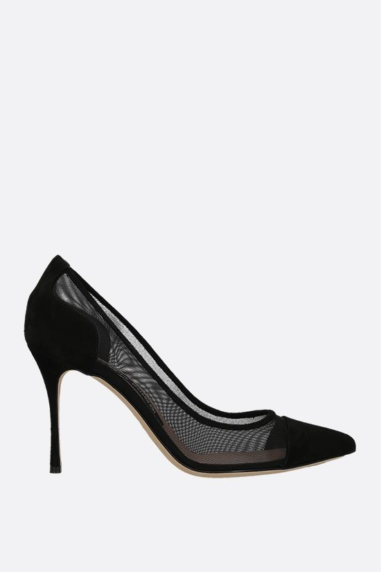 SERGIO ROSSI: Godiva suede and mesh pumps Color Black_1
