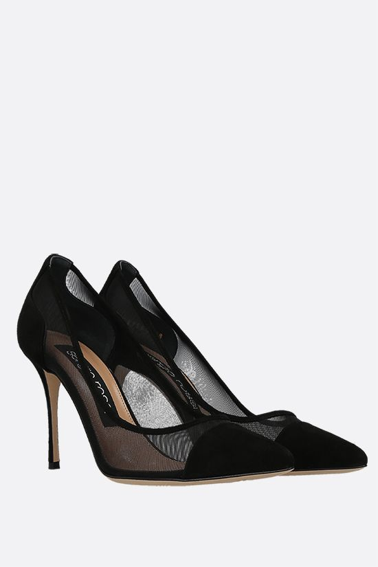 SERGIO ROSSI: Godiva suede and mesh pumps Color Black_2