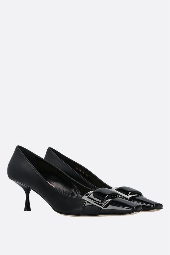 SERGIO ROSSI: sr Twenty patent leather and nappa pumps Color Black_2