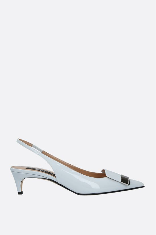 SERGIO ROSSI: sr1 patent leather slingbacks Color Grey_1