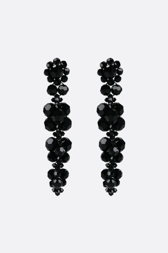 SIMONE ROCHA: Cluster Drip crystal-embellished brass earrings Color Black_1