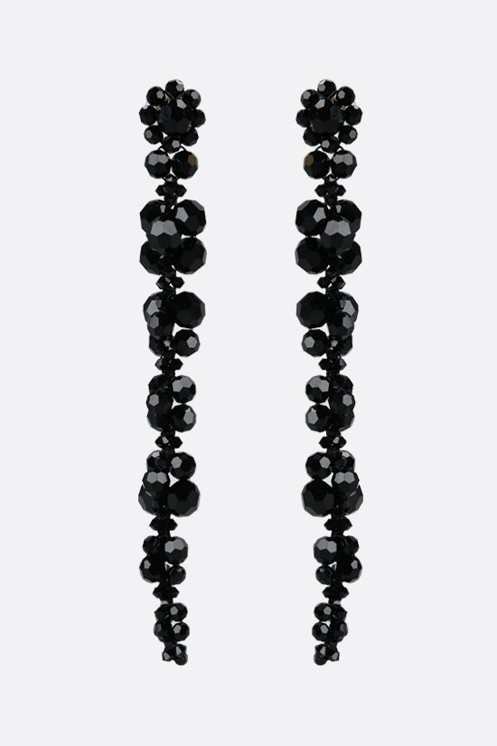 SIMONE ROCHA: Cluster Drip crystal-embellished brass long earrings Color Black_1
