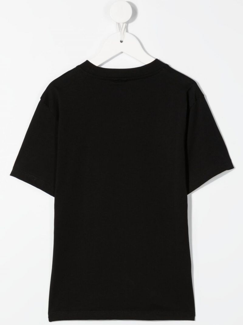 STELLA McCARTNEY KIDS: Palm Logo print cotton t-shirt Color Black_2
