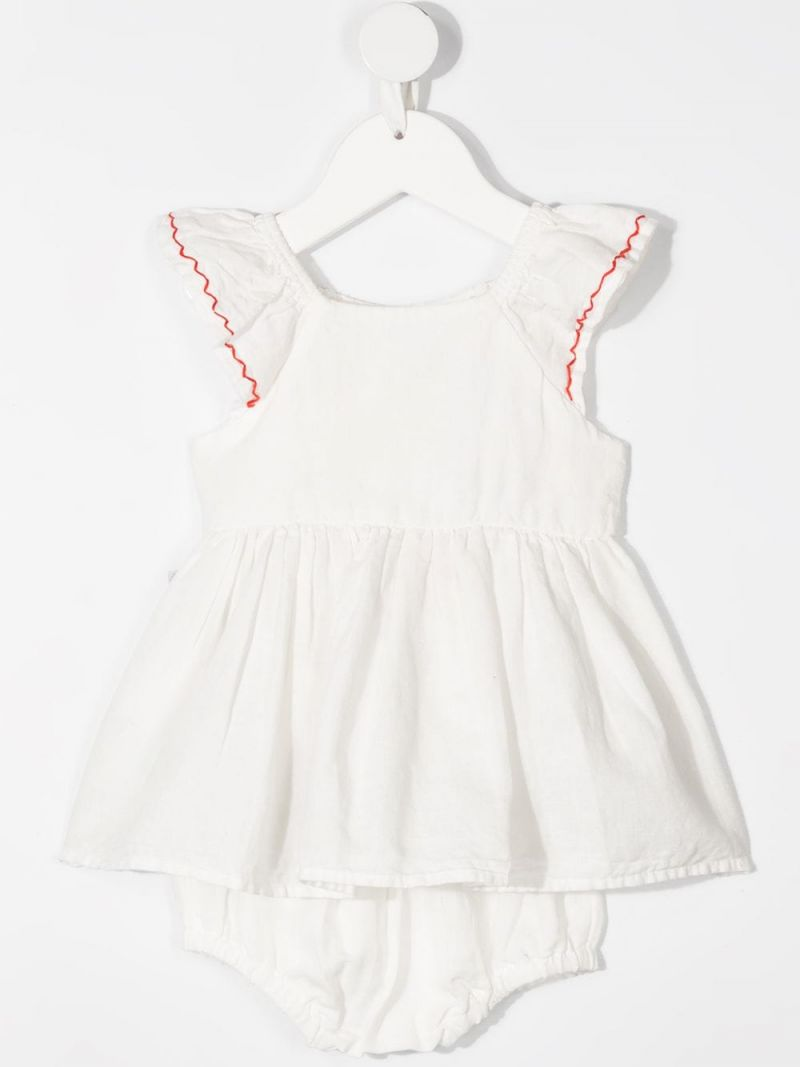 STELLA McCARTNEY KIDS: linen cotton blend dress with bloomers Color White_2