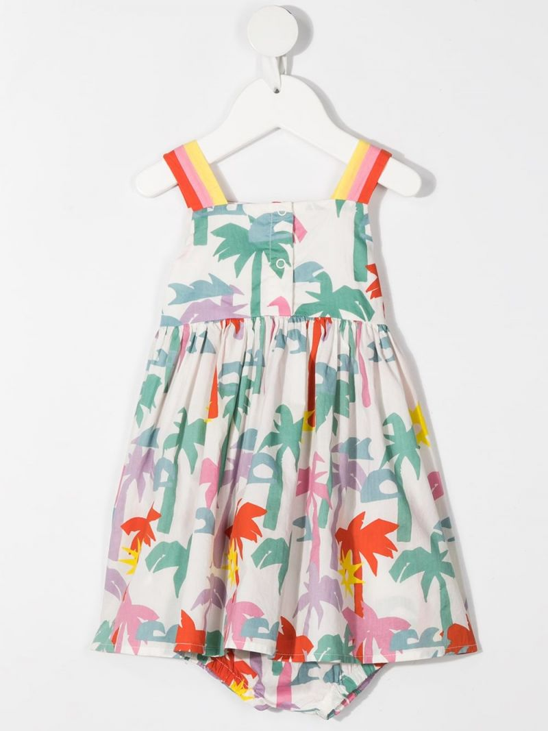 STELLA McCARTNEY KIDS: palms print cotton dress Color Multicolor_2