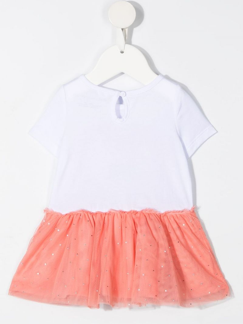 STELLA McCARTNEY KIDS: flamingo print organic cotton and tulle dress Color White_2