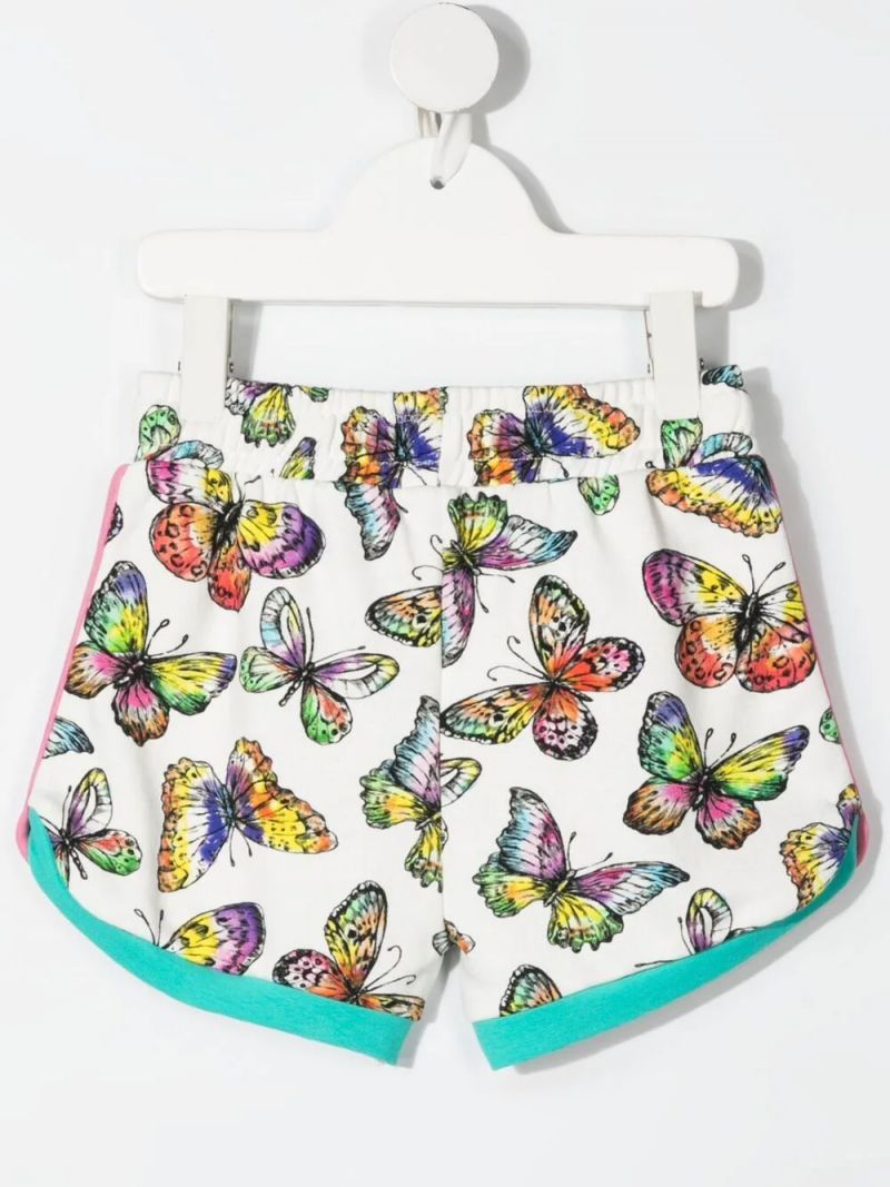 STELLA McCARTNEY KIDS: butterfly print cotton shorts Color White_2