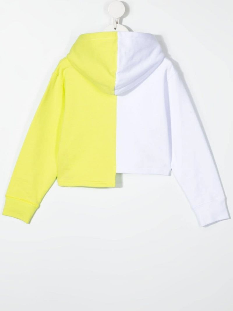 STELLA McCARTNEY KIDS: colour-block asymmetric cotton hoodie Color White_2