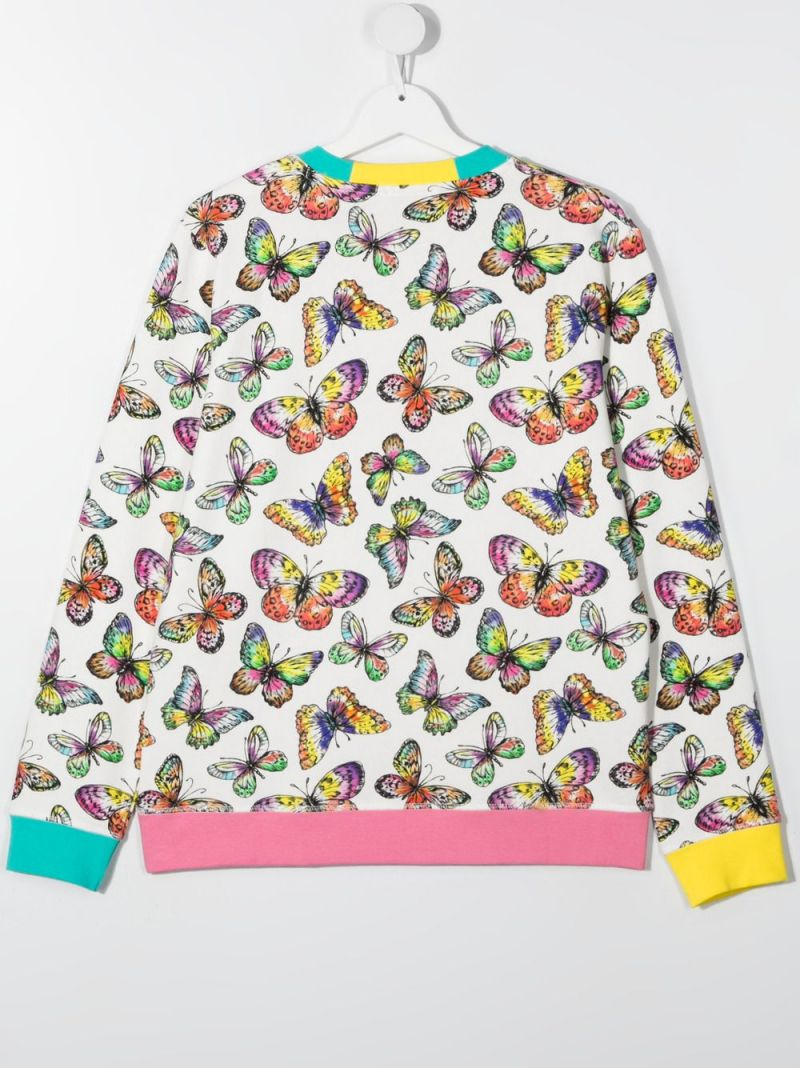 STELLA McCARTNEY KIDS: butterfly print organic cotton sweatshirt Color White_2