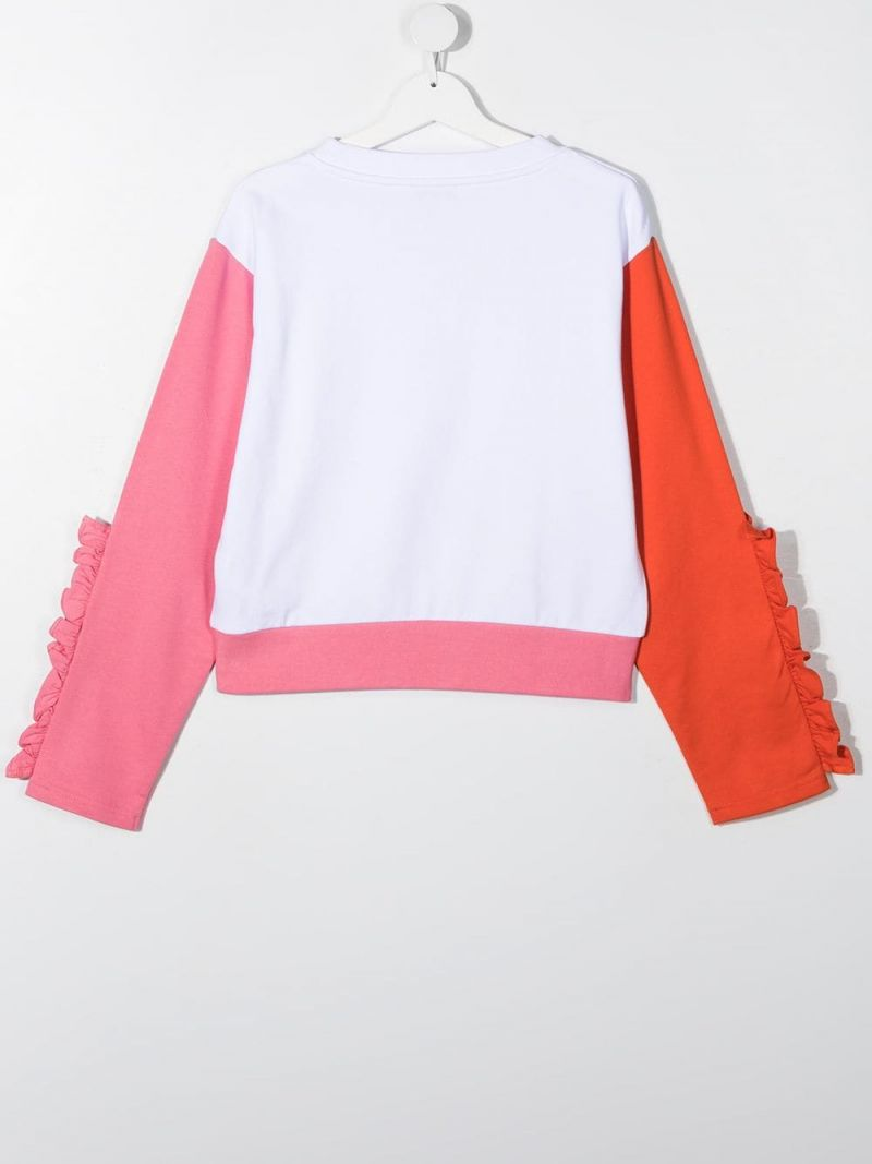 STELLA McCARTNEY KIDS: flamingo print cotton sweatshirt Color White_2