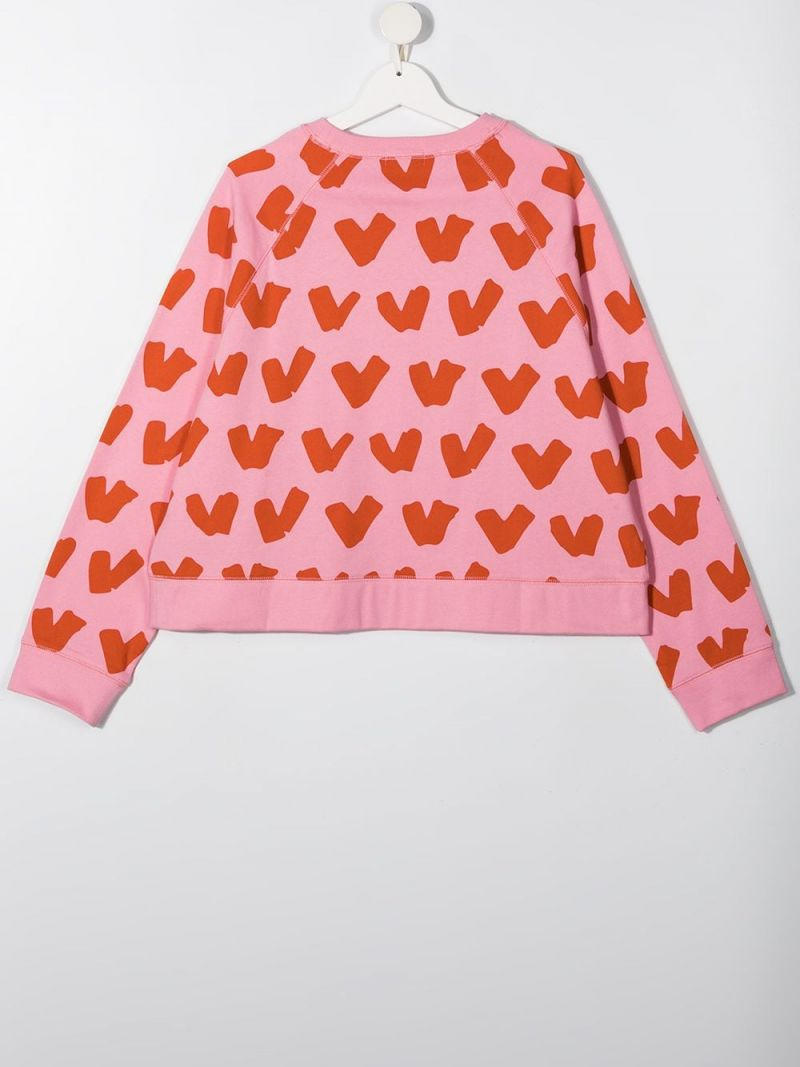STELLA McCARTNEY KIDS: heart print organic cotton sweatshirt Color Pink_2
