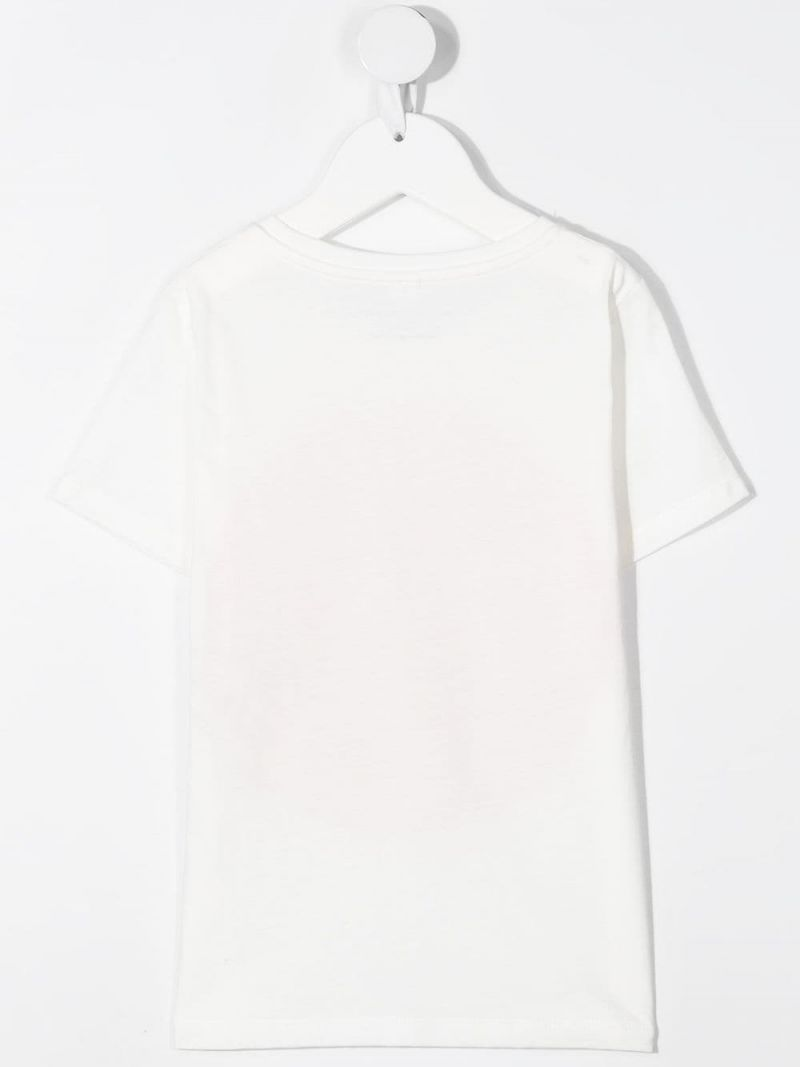 STELLA McCARTNEY KIDS: logo print sustainable cotton t-shirt Color White_2